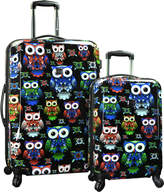 Traveler's Choice Colorful Owl Hardside Expandable Luggage (Set of 2)