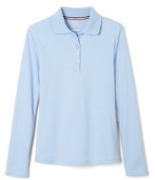 French Toast Plus Girls Long Sleeve Interlock Knit Polo with Picot Collar
