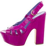 Sergio Rossi Eel Skin Platform Sandals