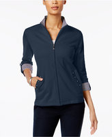 Karen Scott Petite Mock-Neck Jacket, Only at Macy's