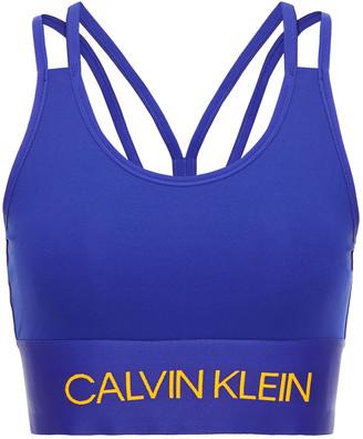 Calvin Klein Monogram-trimmed Stretch Sports Bra