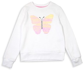 Calvin Klein Girl's Butterfly Sequin Cotton-Blend Sweatshirt