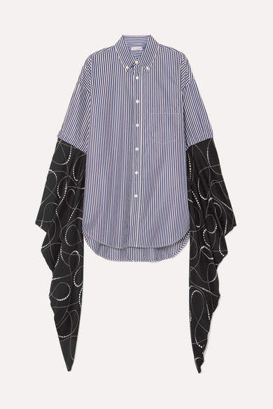 Balenciaga Oversized Striped Cotton-poplin And Printed Silk-georgette Shirt - Navy