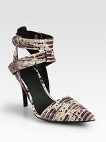 Sonja Lizard-Print Leather Ankle Strap Pumps