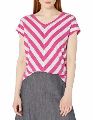 Caribbean Joe Women's Yard Dye Slub Jersey Cap Sleeve V Neck and V Neck Bias Cut Printed Top in Chevron Stripe