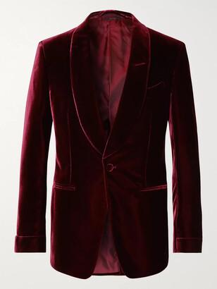 Tom Ford Burgundy Shelton Slim-Fit Shawl-Collar Velvet Tuxedo Jacket