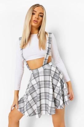 boohoo Check Jersey Pinafore Skater Skirt