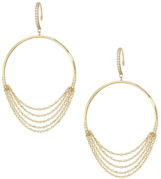 Celara 14K Yellow Gold & Diamond Frontal Wire Hoop Earrings