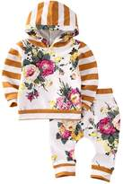 Flower Tiger 2pcs Kids Baby Boys Girls Hooded Sweatshirt Tops Floral Pants Outfits Set Costume (6-12 Months, )