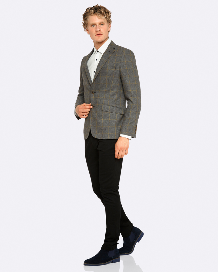 Oxford Max Checked Wool Blend Blazer Gry X