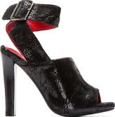 Jeffrey Campbell Black Cracked Patent Suede Gurley Heels