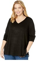 Nic+Zoe Plus Size Party In The Back Top (Black Onyx) Women's Blouse