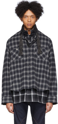 Sacai Black and Grey Ombre Check Shirt