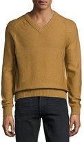 Tom Ford Raglan Cotton-Cashmere Blend V-Neck Sweater, Tobacco