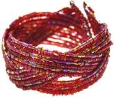 Novadab Women's Bracelets Red - Red Twisted Crisscross Beaded Adjustable Bangle