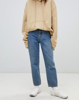 Asos Design DESIGN Recycled Florence authentic straight leg jeans in aged mid stonewash blue