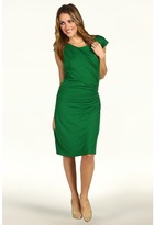 Vince Camuto - Artisan Rayon/Span Sleeveless Side Rouched Sheath Dress (Rich Green) - Apparel