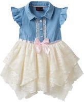 Little Lass Baby Girl Chambray & Lace Handkerchief Hem Dress
