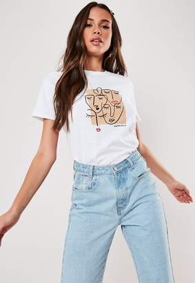 Missguided White Multiple Faces Graphic T Shirt