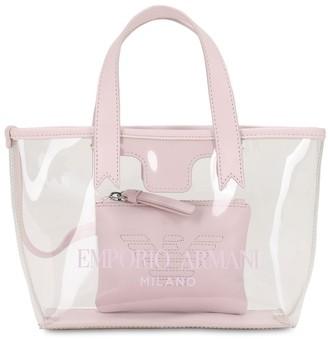 Emporio Armani LOGO PRINTED PVC BEACH BAG W/ POCKET