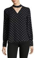 Lord & Taylor Dotted Choker Blouse