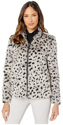 True Grit Dylan By Dylan by Leopard Faux Fur Mock Zip Jacket (Denim) Women's Clothing