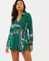 Missguided Printed Wrap Shirt Playsuit