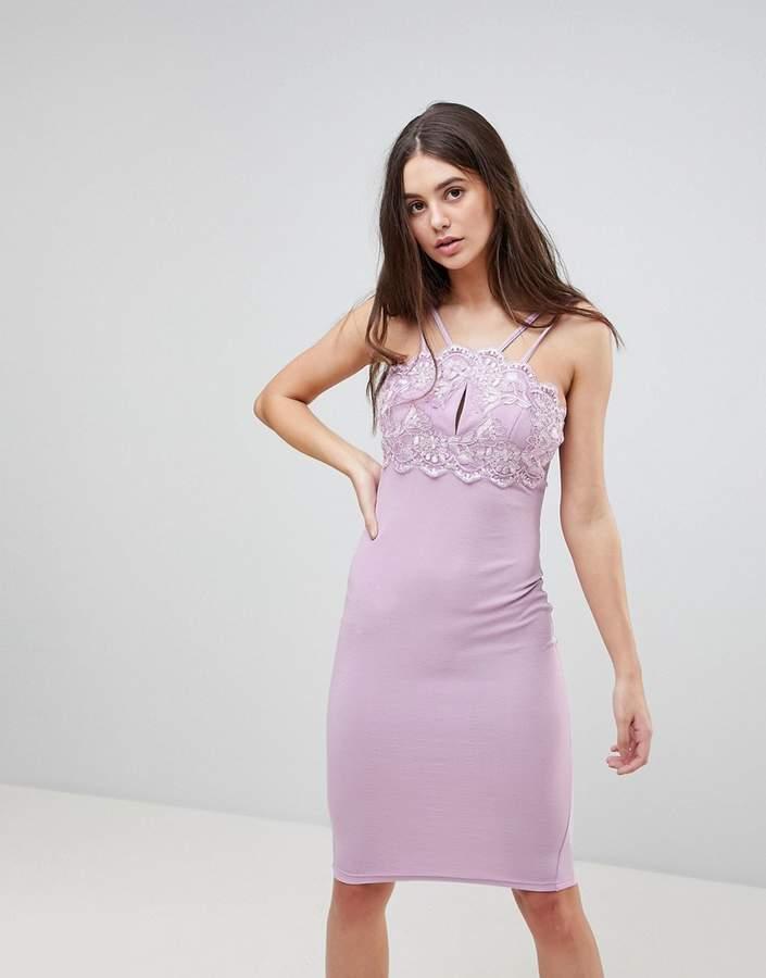 AX Paris Double Strap Bodycon Dress With Lace Detail