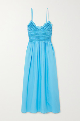 Loretta Caponi Bianca Ruffled Smocked Cotton-voile Midi Dress - Blue