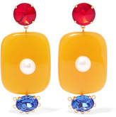 Marni Resin, Crystal And Faux Pearl Clip Earrings - Yellow