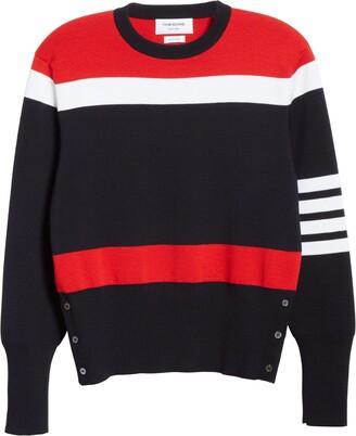 Thom Browne Stripe 4-Bar Merino Wool Sweater