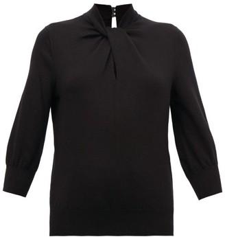Erdem Rumer Twisted-neckline Cashmere-blend Sweater - Black
