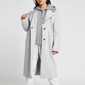 River Island Womens Petite Grey hooded long line coat