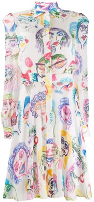 Moschino Portrait Doodle Print Dress