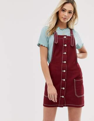 Brave Soul joan dungaree dress with contrast stitch-Red