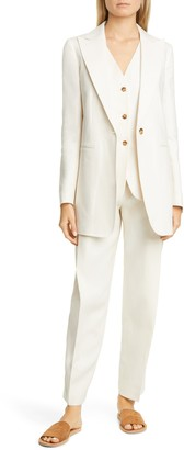 Lafayette 148 New York Pleated Linen Ankle Pants