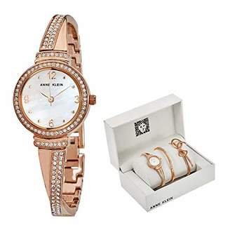 Anne Klein Women's AK/3256RGST Swarovski Crystal Accented -Tone Bangle Watch and Bracelet Set