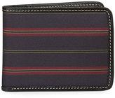 Neiman Marcus Striped Leather Trim Flip Wallet, Purple