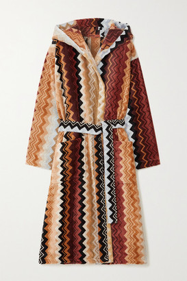 Missoni Home Giacomo Striped Hooded Belted Cotton-terry Robe - Brown