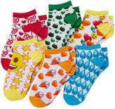 Asstd National Brand Emoji 6-pk. Multi Allover No-Show Socks - Girls 4-10