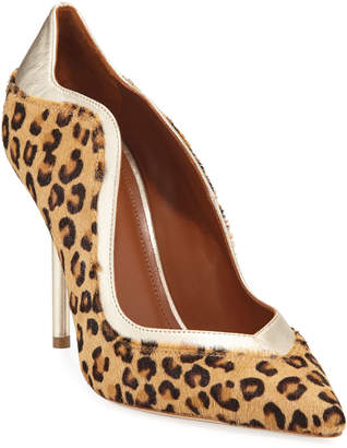 Malone Souliers Penelope Leopard-Print Calf Hair Scalloped Pumps