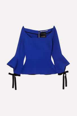 Roland Mouret Holden Off-the-shoulder Crepe Peplum Top - Blue