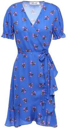 Diane von Furstenberg Lisa Ruffle-trimmed Floral-print Crepe Mini Wrap Dress