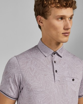 Ted Baker VANESS Leaf print cotton polo shirt