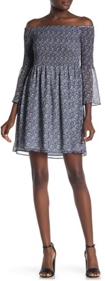 Sam Edelman Off-the-Shoulder Ditsy Print Dress