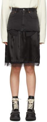 MM6 MAISON MARGIELA Black Denim Overlay Mid-Length Skirt