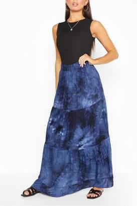 boohoo Tie Dye Tiered Woven Maxi Skirt