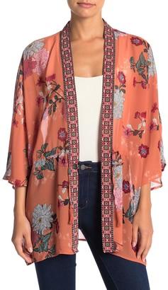 Dr2 By Daniel Rainn Floral Print Short Kimono (Petite)