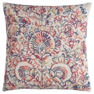 """Rizzy Home 20"""" x 20"""" Textured Floral Medallions Pillow Poly Filled"""