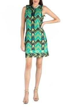 24seven Comfort Apparel Sleeveless Hooded Geometric Pattern Mini Dress